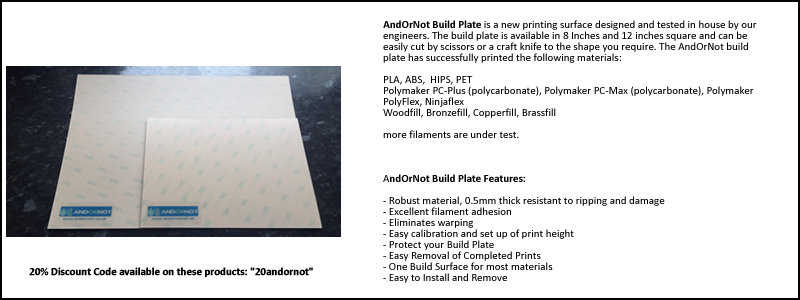 New AndOrNot build plate, available in 8 inch and 12 inch square, further sizes to be added